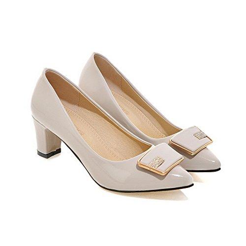 Amoonyfashion Womens Pull-on Pu-puntige Dichte Teen Kitten-hakken Stevige Pumps-schoenen Grijs