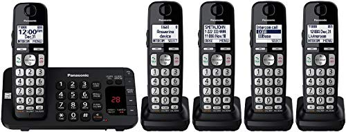Panasonic KX-TGE445B Cordless Phone with Answering Machine- 5 Handsets (Block My Cell Phone Number From Telemarketers)