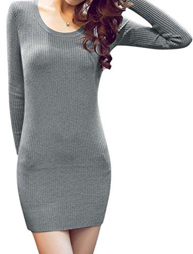 sourcingmap Mujer Cuello Redondo Manga Larga Punto Mini Vestido Ceñido Gris
