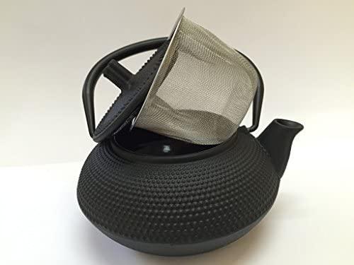 Tetera de hierro colado con filtro - capacidad 0.55 litros y color negro - teteras para vitroceramica, inducción y gas - tetera de metal mediana para ...