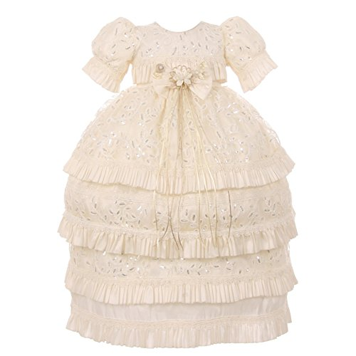 RainKids Baby Girls Ivory Shantung Floral 3 Pc Headband Baptism Gown 0-18Mo by The Rain Kids
