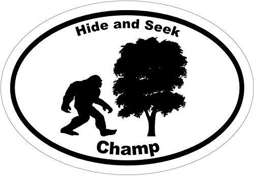 - ION Graphics Bigfoot Sasquatch Vinyl Decal Sticker - Hide and Seek Champ YETI Vinyl Sticker - Bigfoot Bumper Sticker - Perfect Big Foot Sasquatch Funny Gift, Made in The USA Size: 4.7 x 3.3 inch