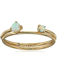 """Fossil Women's Duo Iridescent Gold-Tone Stainless Steel Ring, 6.5"""""""