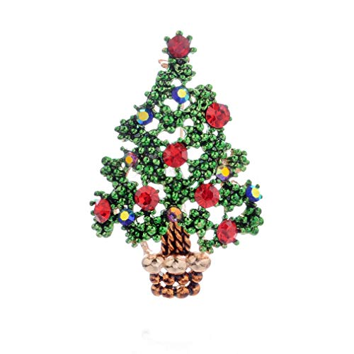 TraveT Christmas Brooch Pin Multi-Colored Rhinestone Crystal Christmas Jewelry Gift for Christmas Decorations Ornaments Holiday Brooch Xmas Pin Party Favor,Christmas Tree