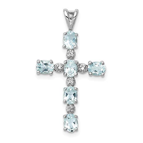 - 925 Sterling Silver Diamond Blue Aquamarine Cross Religious Pendant Charm Necklace Gemstone Fine Jewelry Gifts For Women For Her