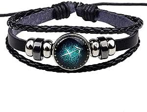 12 zodiac bracelets, Sagittarius handmade charm leather bracelet punk rock man jewelry