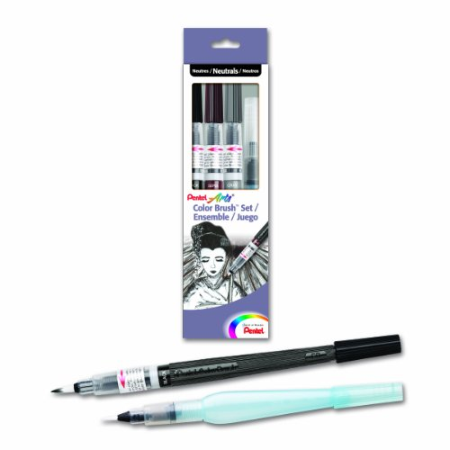 (Pentel Arts Color Water Brush Box Set, Black/Gray/Sepia/Aquash (GFLFRHBP))