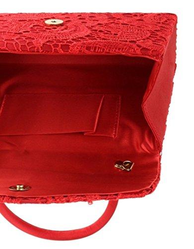 Womens Elegant Handbag Going Evening Fashion Lace Red Satin Wedding Top Handbag Bag Handle Craze Ladies London Wedding Designer Party Womens Clutch Vintage Out Bag Clutch nIwwpBfqz