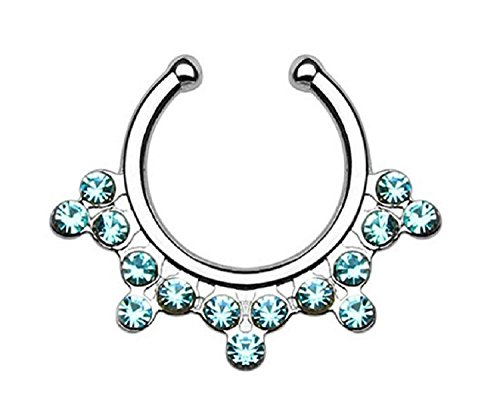 Septum Hanger Gems Snowflake Non Piercing Faux Septum Ring (Surgical Steel/Aqua) (Snowflake Piercing Gem compare prices)