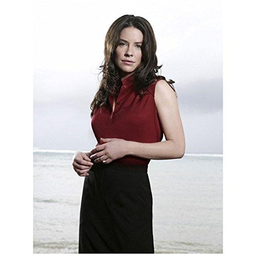 Lost Evangeline Lilly as Kate Austen Soft Seductive Smile Red Top Pencil Skirt Ocean Background 8 x 10 inch photo