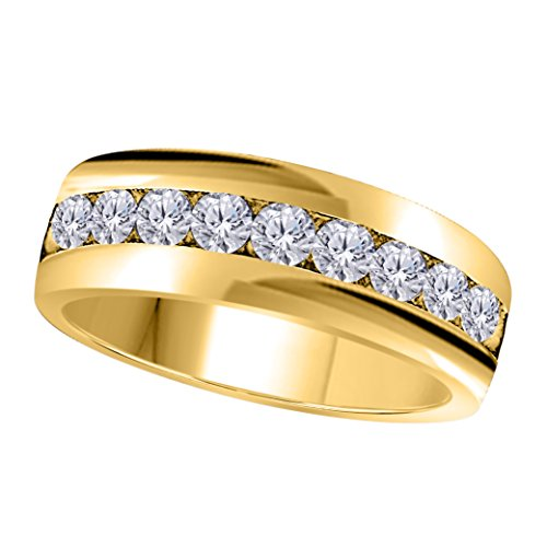 6MM Channel Set 1.00 Ct Round Shape Brilliant Cut White Simulated Diamond Single Row Fancy Men's Wedding Band Ring in 14K Yellow Gold Fn (Round Brilliant Shape Diamond Band)