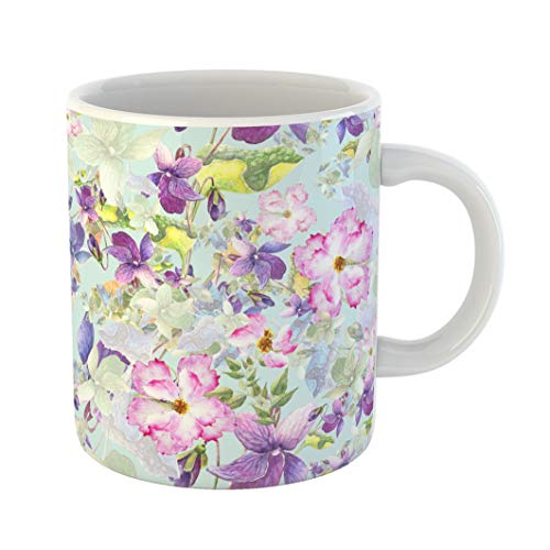 Emvency Coffee Tea Mug Gift 11 Ounces Funny Ceramic Beautiful Watercolor Spring Flowers Violet Pansy and Wild Roses Hips Gifts For Family Friends Coworkers Boss Mug