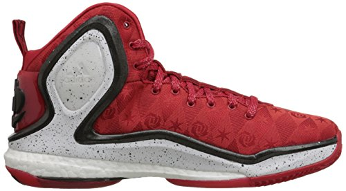 Adidas Performance D Rose 5 Boost scarpa da basket, Dark Base Verde, 11 M Us Scarlet