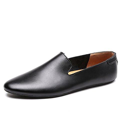 Calidad de Hombres Los Mocasines Alta Moda Hombre Holgazanes los para Deslizan Zapatos la los de en Hombre Zapatos de de Black Cuero Casuales wp4Hq7wx0