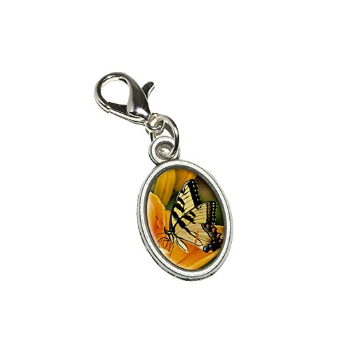 Graphics and More Tiger Swallowtail Butterfly Antiqued Bracelet Pendant Zipper Pull Oval Charm with Lobster (Tiger Butterfly Brooch)