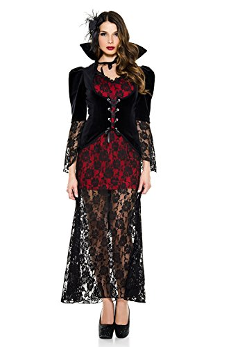3 PC. Ladies Black Widow Vampire Coat Costume Set