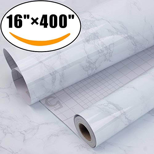 """Marble Self Adhesive Paper 16"""" x 400"""" - Granite Gray/White Roll Kitchen countertop Cabinet Furniture is renovated Thick Waterproof PVC"""