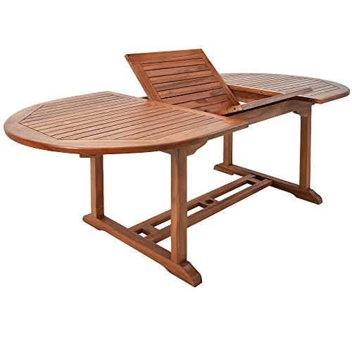 Deuba Mesa de jardin de madera eucalipto VANAMO mesa extensible y plegable con soporte para sombrillas terraza