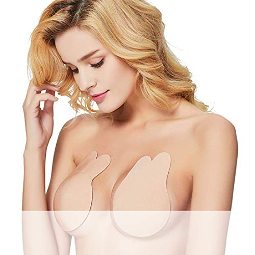 Strapless Backless Sticky Bra Reusable Adhesive Lift Invisible Nipplecovers for Women A Beige