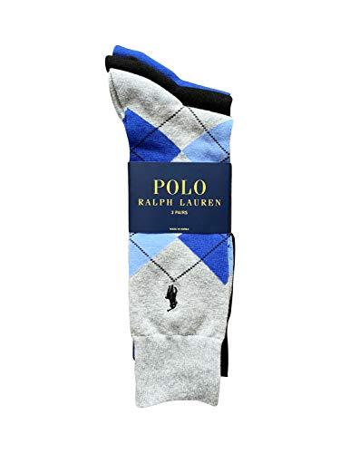 Polo Ralph Lauren Men's Dress Socks 3 Pairs (10-13, Blue/Black/Argyle) ()