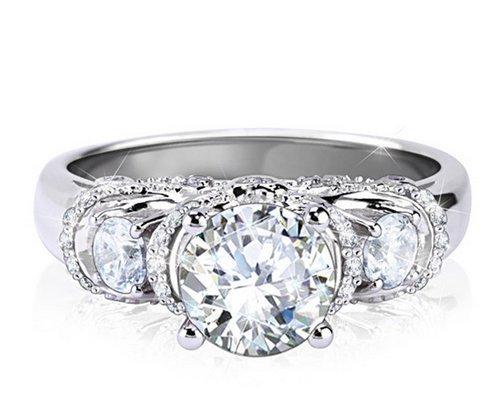 Gowe Noble Centre 2carat imitation diamant Estate Style Bague Or blanc vintage Bague de fiançailles bague de mariage Unique