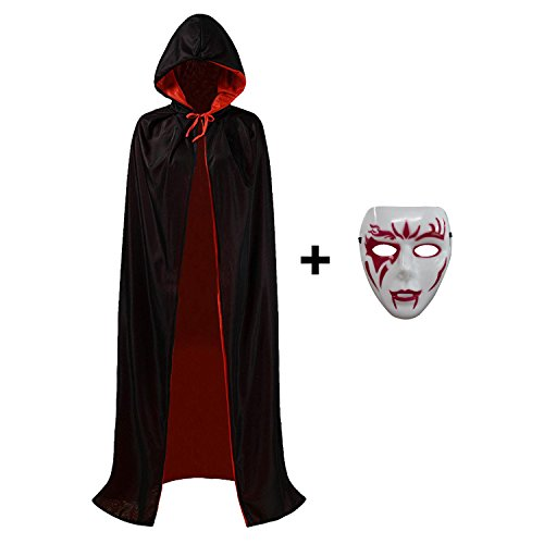 Halloween Costume Capes, Robe Cloak Shawl Halloween Party for Men and Women (M(155cm for women), Black(2018))