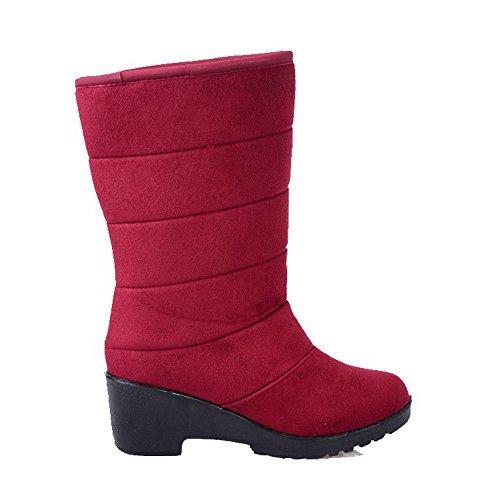AllhqFashion Mujeres Gamuza(Imitado) Caña Baja Tachonado Sin cordones Tacón Medio Botas Rojo
