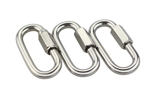 BeeChamp Stainless Steel Screw Locking Oval Quick Link Carabiner, 3 Pack - Keychains Clip Aluminum Cross
