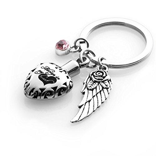 Cremation Urn keychains Always in My Heart Memorial Pendant Keepsake Ash Locket Rose Key Ring Vintage Angel Wing Charm - Heart Pendant 35