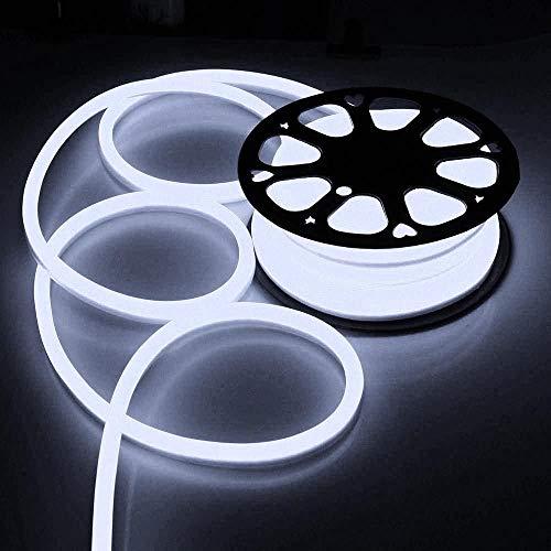 50ft/100ft 110V Flex LED Neon Rope Light Outdoor Halloween Christmas Home Party Bar Store Decor Lighting Cool White (50ft (15meters))]()