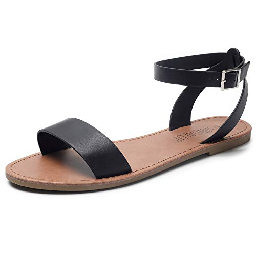 (SANDALUP Women's Soft Faux Leather Open Toe and Ankle Strap Buckle Flat Sandals Ankle Black 08)