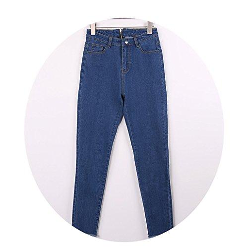 - CARMELA HILL WILLIAMS Long Jeans Women Basic Classic High Waist Skinny Pencil Blue Denim Pants Elastic Stretch Jeans