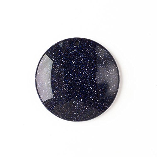 Blue Goldstone 40mm Top Front to Back Drilled Coin Pendant with a Flat Back ()