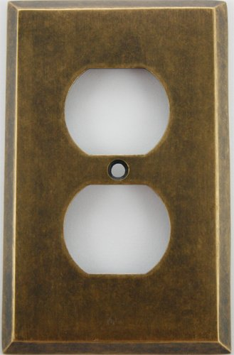 Classic Accents Aged (Matte) Antique Brass 1 Gang Outlet (Duplex) Wall - Ma Outlet