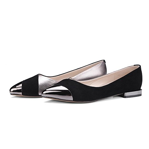 AJUNR Moda/elegante/Transpirable/Sandalias Zapatos puntiagudos superficial salvaje zapatos de mujer negro zapatos planos Treinta y seis 34