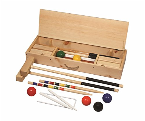 Official 6-Player Hard Maple Croquet Set in Wooden Carrying Case -36'' Handles Amish-made in USA by AmishShop.com