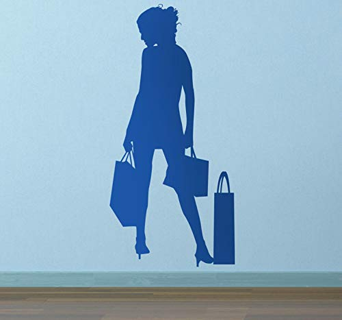 quantd Wall Art Decor Decals Removable Mural Lady Shopper Silhouette Sticker for Living Room Bedroom Girls Bedroom ()
