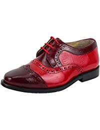 LIBERTYZENO Boys Lace Up Walking Dress Shoes EEL Skin Print Kids Genuine Leather Gliders (Toddler/Little Kid/Big Kid)
