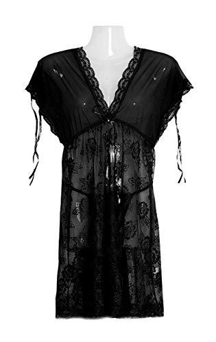 Donna Pizzo Tulle Vestaglie Scoperte Nero Balze Kimono Fasciante Deaman Collo Spalle Da V e Camicie A Eleganti Notte w1wqHd