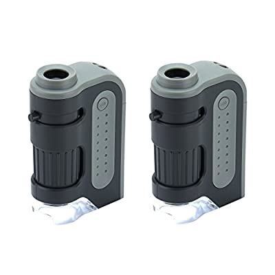 2 Pack Carson MicroBrite Plus 60x-120x Power LED Lighted Pocket Microscope (MM-300)