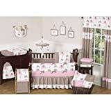 Sweet Jojo Designs 9-Piece Modern Pink and Brown Mod Elephant Baby Girl Bedding Crib Set