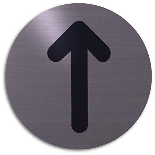 Xaptovi Targhetta adesiva targa, PITTOGRAMMI: FRECCIA | Garanzia di 5 anni | Ø 82 mm tondo | acciaio inossidabile | autoadesivo | piatto segno | Porta segnaletica