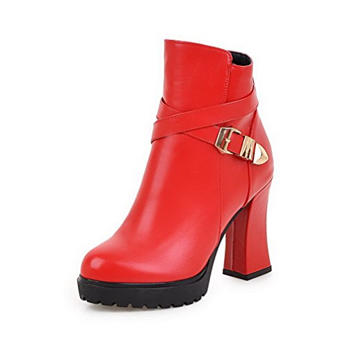 Allhqfashion Womens Pu Low-top Stivali Con Tacco Alto Con Cerniera In Metallo Rosso