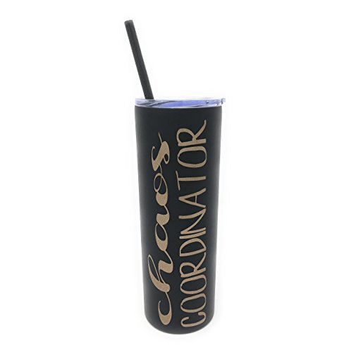 Chaos Coordinator in Gold Glitter Vinyl on a 20oz Black Stainless Steel Skinny Tumbler by Created To Shine