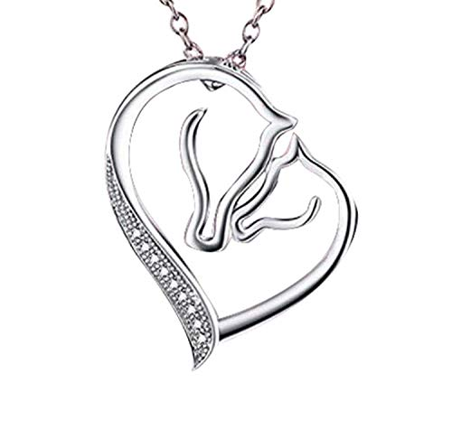 Efivs Arts S925 Sterling Silver Mother and Child Horse Head Heart Shape Pendant Necklace 18