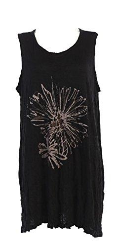 Jess & Jane Women's Mono Flower Bamboo Pleated Tunic Tank Top (2X, Black) ()
