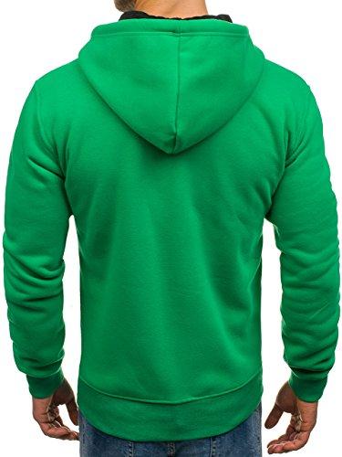 P 351 Hombre Bolsillos Capucha Impresión amp;L BOLF Sudadera Fashion Verde Cremallera Yfwpz