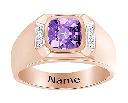 Wishrocks Simulated Birthstone Personalised Engravable Men's Band Ring 14K Rose Gold Over Sterling Silver