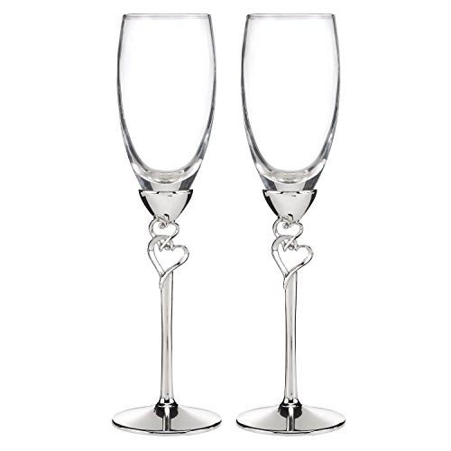 Entwined Hearts Wedding Toasting Champagne Flutes, Set of 2