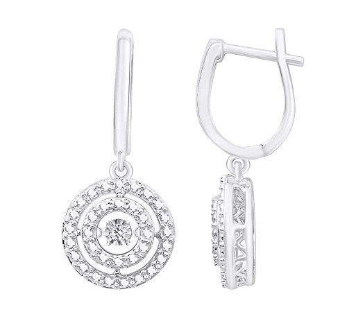(0.05 cttw) Round Cut White Natural Dancing Diamond Circle Drop Earrings In 14k White Gold Over Sterling Silver